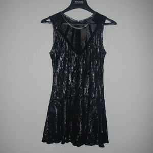 MISS ME Sequin Lace Silver Black Short Dress NWT